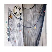 Wholesale fish wall decor bathroom resale online - Blue White Fishing Net bar d wall decoration Nautical Home Decor for embroidery Mediterranean Style Sticker Crafts