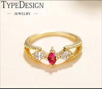 kalp yakut yüzükleri toptan satış-TYPEDESIGN Altın, Pembe, Mavi Zirkon, Lady Yüzük, Güzel Diamond.Cherry çiçekleri ile Kalp Şekilli Yakut Yüzük