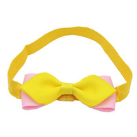 розовые волосы девушки оптовых-Small Girls Two layer Bow Headband Newborn Baby Hair Accessories Elastic Hair Bands Cute Cheap Baby Yellow Pink Girls Headbands