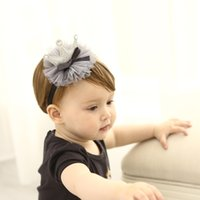 Wholesale crown hair band for girls - Baby Headbands Chiffon Gray black crown lace Kids Elastic Cute Hairbands brithday hat Head Bands for Girls Children Hair Accessories KHA653