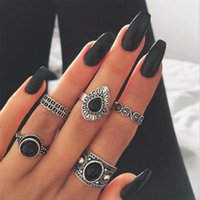 Wholesale eastern costumes online - rings sets Set Classic Black Crystal Round Water Drop Clouds Geometrical Irregular Ring Set Charm Costume Jewelry wedding rings sets