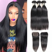 Wholesale curly brazilian hair online - Brazilian Virgin Hair Bundles with x4 Lace Closures Straight Human Hair Weave Bundles with Closure Kinky Deep Curly Water Body Wave