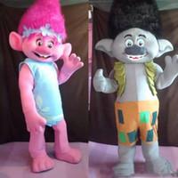 personagem de desenho animado de garrafa venda por atacado-Trolls de alta qualidade Traje Da Mascote papoula Parade Palhaços de Qualidade de Qualidade atividade da festa de Halloween Fantasia Outfit