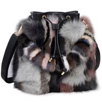 Wholesale real fur handbags - High-End Ladies Real Fox Fur Bucket Bag Women Tote Bags Genuine Leather Design Shoulder Bag Cowhide Handbag evening Party