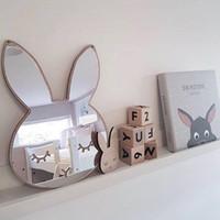 bunny dekor toptan satış-Çocuk Yatak Odası Kreş Dekorasyon Kırılmaz Akrilik Ayna Batman Bunny Taç Kalp Kelebek Bulut Bahçe Duvar Sanatı Dekor Ayna