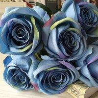 gefälschte blume stieg köpfe groihandel-Großhandel 7 Köpfe Künstliche Rose Blume Blumenstrauß Gefälschte Seide Floral Simulation Rose Blumen Hochzeit Home Party Dekoration Blume Kunst