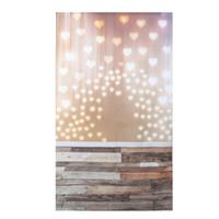 Wholesale vinyl wood backdrop - 1Pc 3x5ft Photo Vinyl Background Love Heart Shaped Light Wood Photographic Backdrop