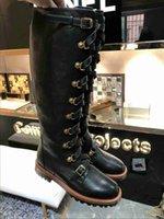 womens cuisse bottes de moto achat en gros de-Luxe Nouvelle Femme Armée Cowboy Genou Cuisse Haute Hiver Neige Bottes Moto Chevalier Stretch Chaussures En Cuir Taille 35-39