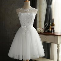Wholesale Dance Dress Wear - Cheap Lace Wedding Dresses Short Knee Length Bridal Wedding Gowns Country Dancing Wear Cheap In Stock