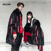 Wholesale Wool Overcoat Design Women - Men Long Design Faux Fur Leather Coats High Street Fashion Hip Hop Autumn Winter Male Women Fake Fur Jacket Overcoat