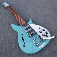 échelles de guitare électrique achat en gros de-Custom John Lennon 325 RIC Guitare électrique semi-creuse, échelle légère, 527 mm, vert clair, 3 micros, un seul trou en F, touche laquée