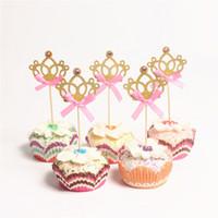 ingrosso legami d'oro d'oro dei ragazzi-10pcs / lot Oro Brillare Papillon Prince Crown Cupcake Topper Corona di cristallo Topper Rifornimenti del partito Bambini Boy Birthday Party Decorations