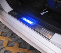 LED stainless steel scuff plate door sill 4pcs set car accessories for Mitsubishi ASX RVR 2011 2012 2013 2014 2015