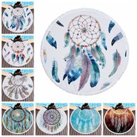 Wholesale handmade tapestries for sale - Group buy 150cm Dreamcatcher Microfiber Tassel Beach Yoga Towels Round Tapestry Wind Chime Dream Catcher Feather Towel Kids Blanket AAA721