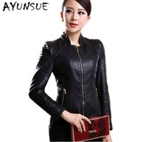 Wholesale woman sheep coat - New style M-4XL autumn winter 2018 fashion genuine sheep leather women slim short coat stand collar leather jacket S0583