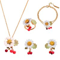 Wholesale Green Enamel Light - Les Nereides Brand Jewelries Set For Women 18K Gold Plated Daisy Florals Necklaces Rings Chains Earrings Free Shipping