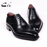 oxfords kesmek toptan satış-Cie Kare Ayak Cut-çıkışları Oxfords Bağcık Katı Siyah 100% Hakiki Buzağı Deri Nefes Ismarlama Erkekler Ayakkabı El Yapımı Özel OX380