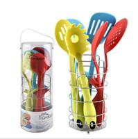 Wholesale Soup Sets - 7pcs Set Cooking Utensils Kitchen Cookware Tools Spoon Soup Ladle Colander Fry Shovel Kitchen Rack Set Kitchenware KKA5078