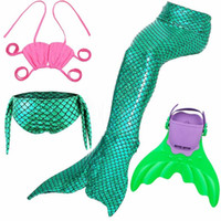 Wholesale woman swim costume online - 4pcs set adult kids girl women mermaid tail with monofin swimmable Costume Cosplay Clothing Children Mermaid Tails for Swimming mono fins