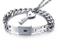 Europe American new arrival fashion jewelry men women love locks Titanium key bracelet party Christmas festival love gift
