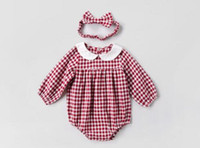 Wholesale Red Pets - Ins NEW ARRIVAL fall infant Kids Cotton Long Sleeve pet pan collar plaid print Romper + headband 100% cotton baby Climb spring autumn romper