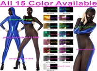 Wholesale shiny metallic spandex costume for sale – halloween Sexy Body Suit Costumes New Color Shiny Metallic and Spandex Silk Suit Catsuit Costumes With Open Eyes Sexy Bodysuit Costumes Outfit P236