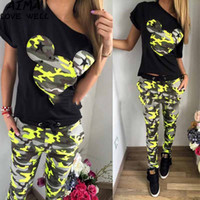 Wholesale Yellow Tracksuit For Women - 2018 Fashion Summer Female Tracksuit Casual Women Printing Short-sleeved Sweatshirt +Pant Track Suit Sporting Suit For Women