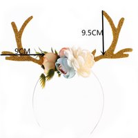 accesorios para el cabello en flor al por mayor-Christmas INS Funny Deer Antler Headband Flowers Blossom DIY Horn Hair Hoop Fancy Dress Party Disfraces de Cosplay Accesorio 4 Color