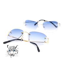 gafas de sol de forma redonda al por mayor al por mayor-Estilo sin montura gafas de sol de estilo para hombres, mujeres, colores, colores para el lujo de verano Gafas de Carter Super Quality marcos al por mayor