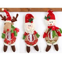 Wholesale plush santa stuff for sale - Christmas Doll Decorations Gifts Bags For Santa Snowman Elk Reindeer Doll Candy Apple Bags Jar Xmas Plush Stuffed Toys Ornaments HH7