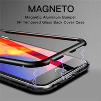 Wholesale metal case for xiaomi - Magnetic Adsorption Phone Case for IPhone 6 6s X 8 7 + Plus huawei p20 pro honor xiaomi 8 Clear Tempered Glass + Built-in Magnet Ultra Cover