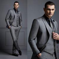 Wholesale cheap mens three piece suits - Fashion Grey Mens Suit Cheap Groom Suit Formal Man Suits For Best Men Slim Fit Groom Tuxedos For Man(Jacket+Vest+Pants)