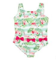 Wholesale Girl S Swimsuits - Girl Summer Flamingo Swimsuit One Piece Baby Polyester Swimwear Kids Summer Swim Clothes Baby Clothing AM 005