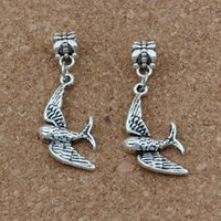 Wholesale cute big bracelets resale online - 100pcs Dangle Ancient silver Cute little swallow bird Charm Big Hole Beads Fit European Charm Bracelet Jewelry x40 mm A a