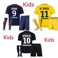 Wholesale Foot Boy - Thailand Maillot de foot MBAPPE NEYMAR JR soccer jerseys 2018 Kids CAVANI DANI ALVES jersey 17 18 football shirt KIT survetement NEY