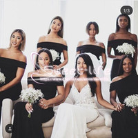 Wholesale Simple New Dress For Girls - 2018 African Black Girl Mermaid Bridesmaids Dresses New Off The Shoulder Floor Length Simple Stain Zipper Custom Made dresses for wedding