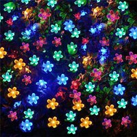 Wholesale blue flower string lights - 100 LED Solar String Flowers Fairy Lights Waterproof Outdoor Solar String Lights Decorated Garden Christmas Holiday light