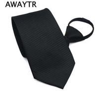 ingrosso cravatta plaid nera rossa-AWAYTR Black Zipper Cravatte per uomo Easy To Pull Narrow Neck Cravatta uomo Fashion Red Plaid Neck Cravatta per Party Wedding