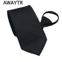 laço preto vermelho da manta venda por atacado-AWAYTR Black Zipper Laços para Homens Fácil de Puxar o Pescoço Estreito Gravata dos homens Moda Red Xadrez Neck Tie para o Casamento da Festa