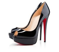 Wholesale Shiny Black High Heels - Nude Color Fish Mouth 13cm Red Bottom High Heels ,Women Luxury Brand Black Patent Leather Platform Peep-toes Sandals ,Shiny Leather Shoes 53