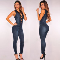 Wholesale Lace Rompers Xs - Jeans Jumpsuit for Women 2017 Sexy Bodysuit Women Summer Autumn Rompers Womens Jumpsuit Lace Up Combinaison Femme Plus Size XXXL