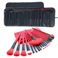 Wholesale hair cases for sale - 24 Makeup Brushes Sets Kit Red Black Color Professional Cosmetic Make up Brushes Case Lip Eyeshadow Foundation brush Tool