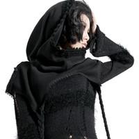ingrosso scialle di poncho nero-Fashion Ladies Knitted in lana nera Poncho Capes Gothic scialli brevi irregolari con cappello Autunno inverno Wraps