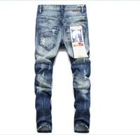 jeans tyga rasgado venda por atacado-2018 novos jeans rasgados para homens magros Distressed slim famous brand designer biker hip hop beckham swag tyga branco preto jeans kanye oeste