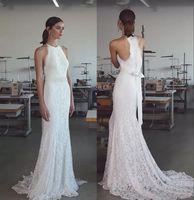 Wholesale Lace Halter Wedding - vintage Trumpet Mermaid Lace Wedding Dresses 2018 Lihi Hod Sleeveless Halter Neck Sweep Train Fully Classy Elegant Lace Beach Bridal Gowns