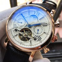 Wholesale watches classic tourbillon for sale - Top Luxury Brand Swiss Watch Men Automatic Mechanical Watch RoseGold Tourbillon Man Calendar Watches Classic Black Leather Wristwatch Sports