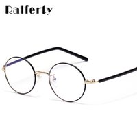 06ae6250d3 Ralferty Vintage Round Eyewear Frame Women Men Gold Black Optical Frames  Clear Lens Eyeglasses Female Small Myopia Points X1319