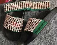 cristal do euro venda por atacado-Moda Preto Cristal Web slides sandálias chinelos homens e mulheres unisex praia causal slip-on sandálias tamanho euro 35-45