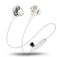 Wholesale lg ear speaker resale online - 4 Speakers Wireless Bluetooth Earphones Sport Headset Dual Dynamic Driver Headphones HIFI Monitor Stereo Bass Earbuds Mic Music Microphone