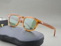 Wholesale johnny sunglasses resale online - NEW style fashion brand sunglasses johnny black tortoise flaxen red clear frames size lemtosh men women depp sunglasses with original box